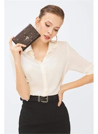 Deri Company Kadın Basic Cüzdan Monogram Desenli Şeritli Gümüş Siyah (8033G)  213001 Kahve